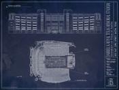 Texas Longhords - Royal Memorial Stadium Blueprint Poster