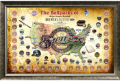 Milwaukee Brewers Ballpark Map Framed Collage w/Game Used Dirt