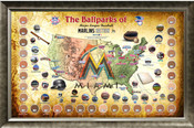 Miami Marlins Ballpark Map Framed Collage w/Game Used Dirt