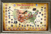 Baltimore Orioles Ballpark Map Framed Collage w/Game Used Dirt