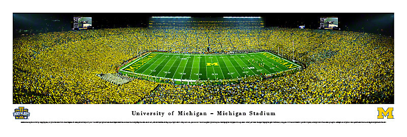 First Night Game at Michigan Stadium Panoramic Poster
