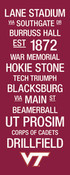 Virginia Tech/Lane Stadium College Town Wall Art wtih Logo