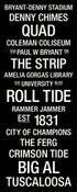 Alabama Crimson Tide/Bryant Denny Stadium College Town Wall Art 1