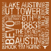Texas Longhorns/Royal Memorial Stadium College Colors Subway Art