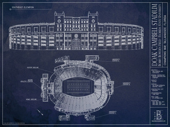 Florida state seminoles doak campbell stadium blueprint poster image 1 malvernweather Image collections