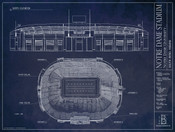 Notre Dame Fighting Irish - Notre Dame Stadium Blueprint Poster