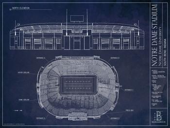 Notre dame fighting irish notre dame stadium blueprint poster image 1 malvernweather Images
