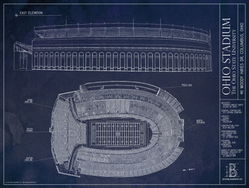 Ohio State Buckeyes - Ohio Stadium Blueprint Poster