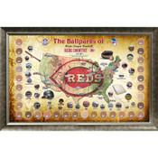 Cincinnati Reds Ballpark Map Framed Collage w/Game Used Dirt
