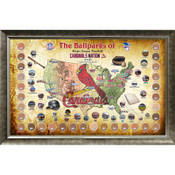 St. Louis Cardinals Ballpark Map Framed Collage w/Game Used Dirt