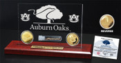 "Auburn Oaks Authentic Oak 6""x9"" Etched Acrylic Gold Coin DeskTop"