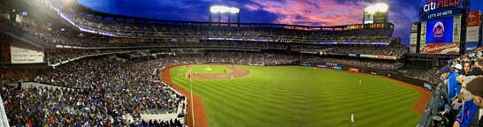 """Sunset at Citi Field"" New York Mets Panoramic Photograph"