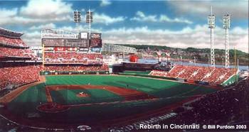 """""""Rebirth in Cincinnati"""" Cincinnati Reds Print"""