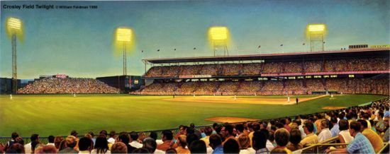 """Crosley Field Twilight"" Cincinnati Reds Print"