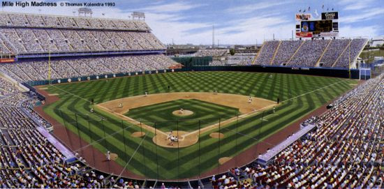 """Coors Field Pitch"" Colorado Rockies Print"