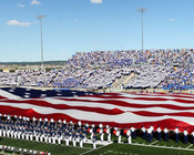 Air Force Falcons Flag at Falcon Stadium Poster