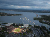 Washington Huskies at Husky Stadium Aerial Poster 1