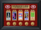 San Francisco 49ers Super Bowl Ticket and Game Coin Collection