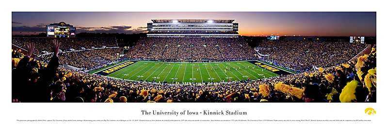 """Striping"" Iowa Hawkeyes at Kinnick Stadium Panorama Poster"