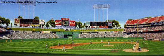"""Oakland Coliseum Matinee"" 1993 Oakland A's Print"