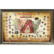 Arizona Diamondbacks Ballpark Map Framed Collage w/Game Used Dir