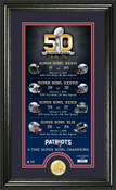 New England Patriots Super Bowl 50th Anniversary Photo Mint 1