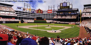 """First Arlington Pitch"" Texas Rangers Print"