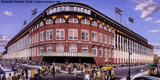 """Outside Ebbets Field"" Brooklyn Dodgers Print"