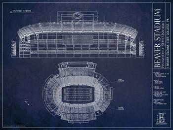 Beaver stadium penn state nittany lions blueprint poster the image 1 malvernweather Images