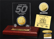 Super Bowl 50 Logo Gold Coin Etched Display Gold Mint Coin