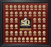Super Bowl 50 Gold Flip Coin 50th Anniversary Collection Frame