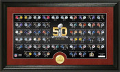 Super Bowl 50th Anniversary Bronze Coin Pano Photo Mint