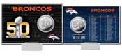 Denver Broncos Super Bowl 50 Silver Flip Coin Card