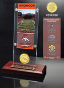 Denver Broncos 3-time Super Bowl Champions Ticket & Bronze Coin Acrylic Desk Top