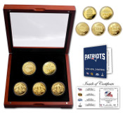 New England Patriots 4-Time Super Bowl Champions 5 Coin 24KT Gold Coin Set