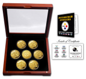 Pittsburgh Steelers 24KT Gold plated 7 Coin Super Bowl Champions Set