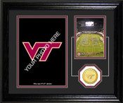 "Virginia Tech Hokies ""Fan Memories"" Bronze Coin Desk Top Photo Mint"