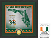 "Miami Hurricanes ""State"" Bronze Coin Photo Mint"