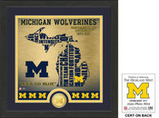 "Michigan Wolverines ""State"" Bronze Coin Photo Mint"