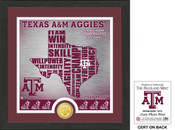 "Texas A&M Aggies ""State"" Bronze Coin Photo Mint"
