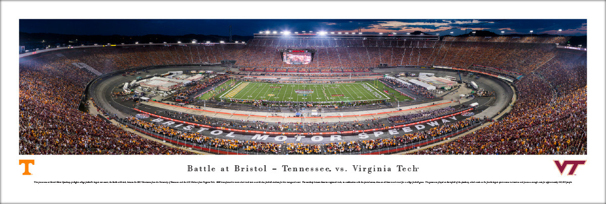 """Battle at Bristol"" Tennessee vs Virginia Tech Panorama Poster"