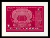 Alabama Crimson Tide - Bryant Denny Stadium School Colors Blueprint Art