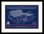 Arizona Wildcats - Arizona Stadium School Colors Blueprint Art