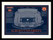 Auburn Tigers - Tiger Stadium School Colors Blueprint Art