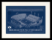BYU Cougars - LaVell Edwards Stadium School Colors Blueprint Art