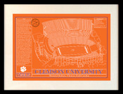 Clemson Tigers - Memorial Stadium School Colors Blueprint Art