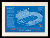 Kansas Jayhawks - Memorial Stadium School Colors Blueprint Art