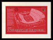 Louisville Cardinals - Papa John's Cardinal Stadium School Colors Blueprint Art