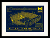 Michigan Wolverines - Michigan Stadium School Colors Blueprint Art