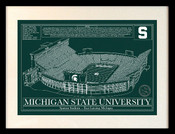 Michigan State Spartans - Spartan Stadium Blueprint Art